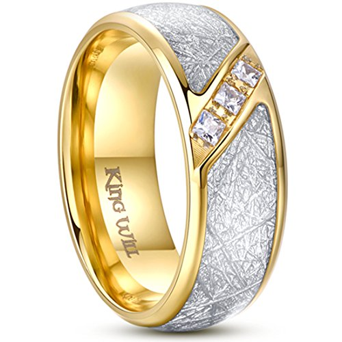 King Will METEOR Titanium Wedding Band Ring 8mm Gold Plated Meteorite CZ Stone Inlay Domed Polished 10