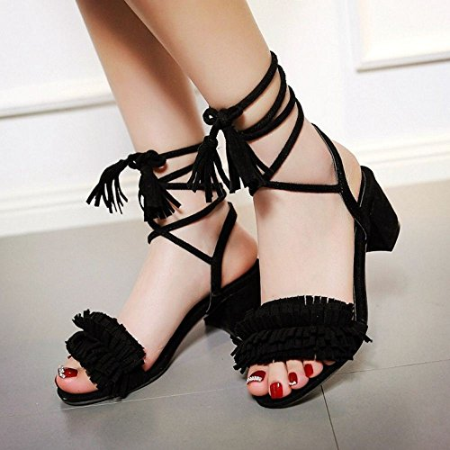COOLCEPT Women Fashion Bohemia Ankle Lace Strap Sandals with Fringe Black 716 lDM4kSOoT