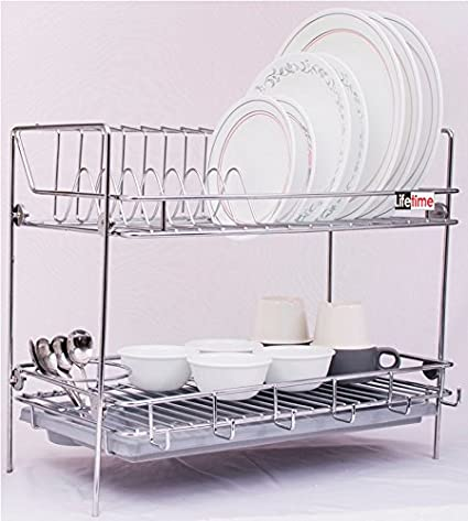 Lifetime Kitchen Rack Organizer With Removable Drip Tray - Dish ...