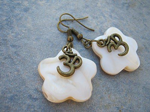 Mother Of Pearl Om Earrings, Iridescent White Flower Earrings, Hawaii Beach Jewelry, Nature Earrings, Antiqued Bronze