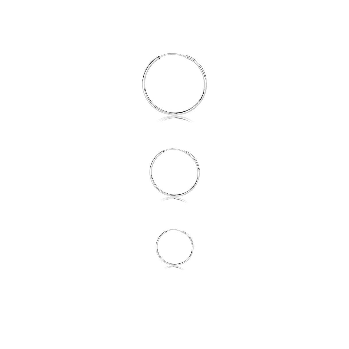 Sterling Silver Endless Round Unisex Hoop Earrings, Set of 3 Pairs 10mm 12mm 16mm