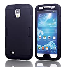 Galaxy S4 Case, LUOLNH 3-piece 3 in 1 Combo Hybrid Defender High Impact Body Armor Hard PC & silicone Case Protective Cover for Samsung Galaxy S4(Black)