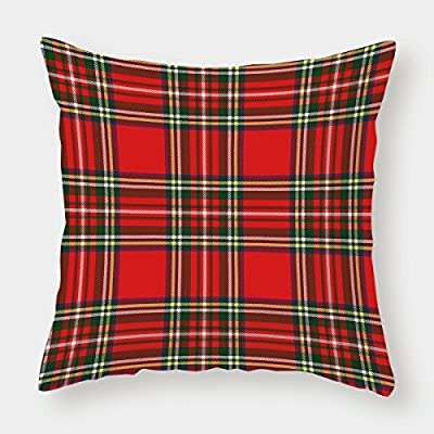 iPrint Satin Throw Pillow Cushion Cover,Red Plaid,European Western Culture Inspired Abstract Tartan Motif Vintage Classical Design Decorative,Multicolor,Decorative Square Accent Pillow Case