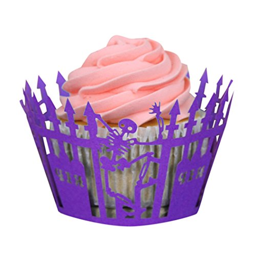 (DEESEE(TM) 50 pcs Halloween Pumpkin Lace Cut Cupcake Wrapper Liner Baking Cup Muffin)