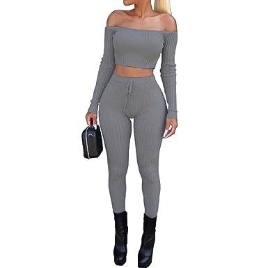 c8135b328 HOMEBABY Women Off Shoulder Sweatshirt+Pants Set