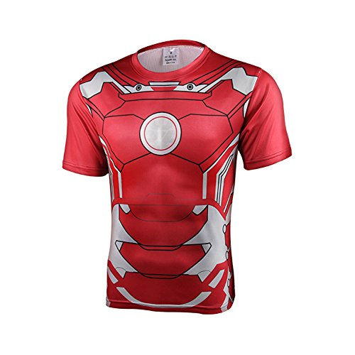 Film Role Sprort Tights With Short Sleeves 3D Printing unisex T-shirt Personal Stereo Running Basketball Training Tops Sweat Tees Iron Man Green Lantern Superman