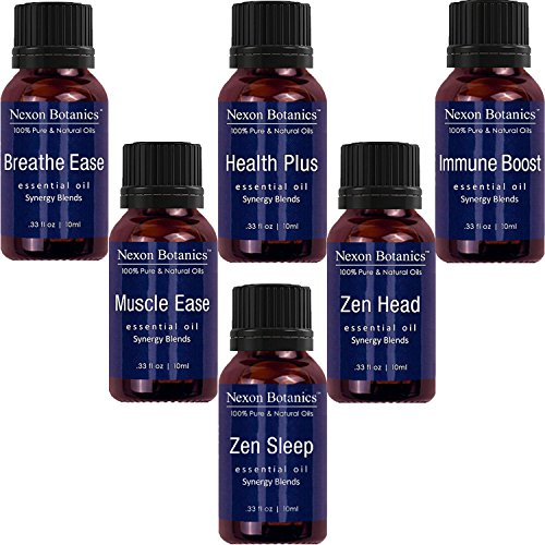 Aromatherapy Essential Oil Synergy Blend Set - 100% Pure & Natural Undiluted Therapeutic Grade Blends Include Breathe Ease, Health Plus, Zen Head, Muscle Ease, Zen Sleep, Immune Boost Oils 6 x 10 ml by Nexon Botanics (Image #9)