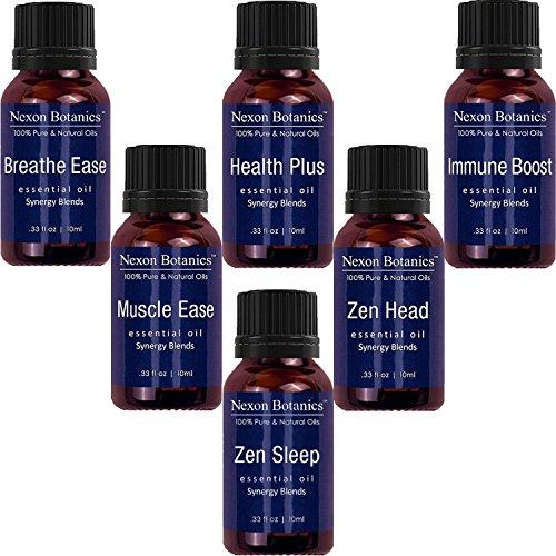 Nexon Botanics Essential Oils Synergy Blend Set, 100% Pure Aromatherapy Immunity blend Includes Breathe Ease, Health Plus. Zen Head, Muscle Ease, Zen