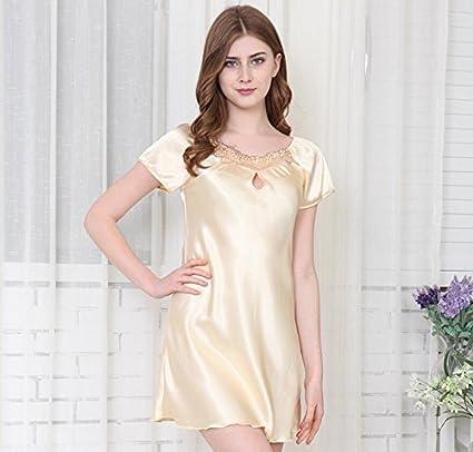 LJ&L De alta calidad de pijamas de las señoras de seda hilada verano de seda de