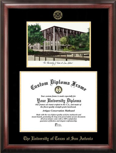 - Campus Images University of Texas, San Antonio Gold embossed diploma frame lithograph