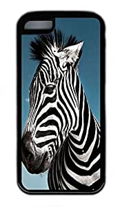 iPhone 5C Case, Personalized Protective Rubber Soft TPU Black Edge Case for iphone 5C - Zebra Cover