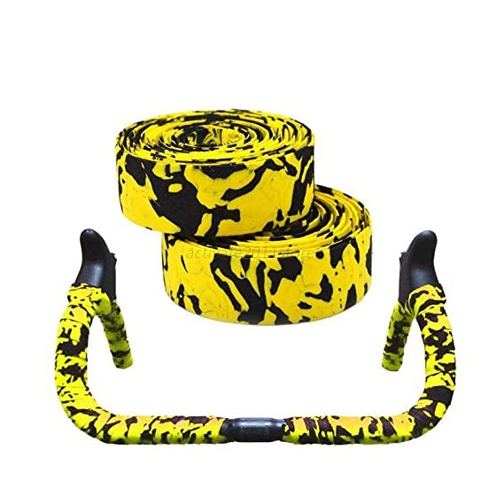 LIGHTER HOUSE Bicycle Handlebar with Reflective Grip Wrap Tape and 2 Bar Plugs (Black-Yellow)