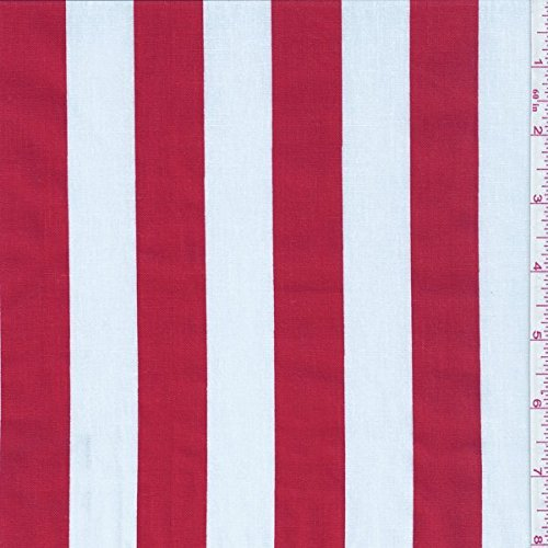 """60"""" Red/White One Inch Stripe Print Fabric-15 Yards Wholesale By the Bolt"""