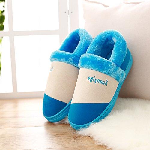 Autunno e Inverno anti-slittamento pantofole di cotone pacchetto femmina con spessi inverno paio di pantofole di cotone pantofole home home inverno Package Pin Maschio ,40-41 (39-40), il doppio pacche