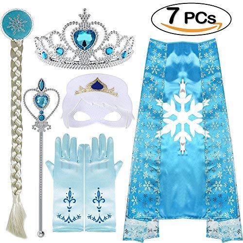 ANNTOY Princess Dress Up 7 Pcs Elsa Crown Gloves Wig Wand Cloak Mask Princess Accessories for Girls (Blue) ()