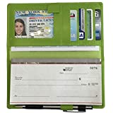 Bright Green RFID Leather Checkbook Cover with Credit Card Slots and Pen Holder