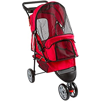 Red 3-Wheel Trail Terrain Pet Stroller Jogger