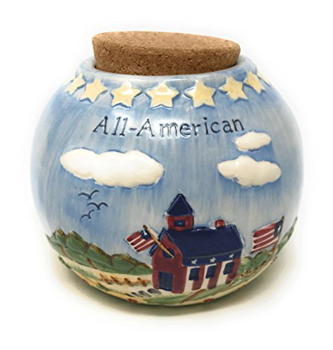 - Russ Berrie Americana Scene Ceramic Coin Bank (All-American Blue)