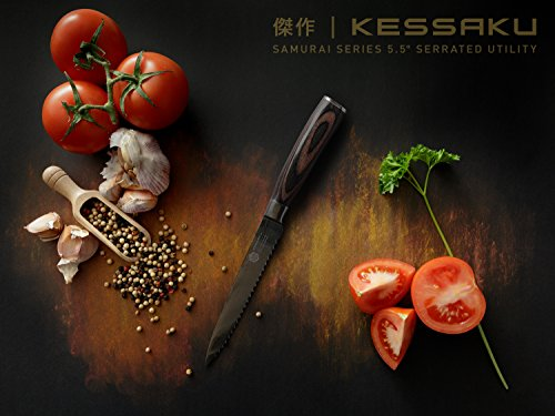 Kessaku 5.5-Inch Serrated Utility Knife - Samurai Series - High Carbon 7Cr17MoV Stainless Steel with Blade Guard 4 SAMURAI SERIES - Kessaku professional knives are well suited to tackle all your culinary needs. Our knives are hand crafted by our highly trained technicians utilizing cutting edge technology and the finest materials. Designed in Japan, our Kessaku knives will be a staple in your kitchen and will become your 'Go To' knife. Experience the difference owning a true Chef's knife can make. You have joined countless chefs and true cooking enthusiasts who already own this professional knife. PREMIUM CONSTRUCTION - Utilizing our specially formulated High Carbon 7CR17MOV Stainless Steel your knife is constructed to be very resistant to corrosion and rust. The mirror polished, smooth pakka wood handle offers superior strength and comfort while its seamless build ensures no dirt or debris collects on your knife. The pakka wood handle is heat, cold, and moisture resistant and has a full tang for added strength. Kessaku means masterpiece in Japanese and that is what you will be receiving. COMFORT AND DESIGN - We design our knives to be well balanced so you won't feel dragged down. The knife's ergonomics helps reduce aches and fatigue in your hands. The precision forged, razor sharp blade is hand sharpened by a 16° angle per side making for a sharper, longer lasting blade edge. With a Rockwell hardness of 58 you are sure to receive a strong and durable blade. A good knife is an extension of your hand and so you should choose one that makes the work feel effortless.