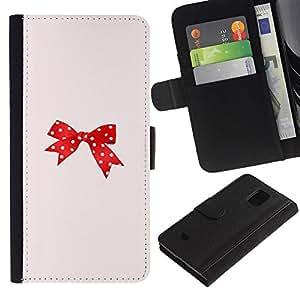 For Samsung Galaxy S5 Mini / Galaxy S5 Mini Duos / SM-G800 !!!NOT S5 REGULAR! ,S-type® Dot Red Pink Bowtie Peach - Dibujo PU billetera de cuero Funda Case Caso de la piel de la bolsa protectora