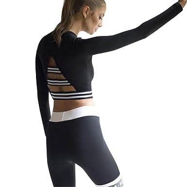 Schnäppchen 2017 bester Großhändler gut aussehen Schuhe verkaufen Upxiang Frauen Streifen Crop Top Sport Yoga T-Shirt Langarm ...