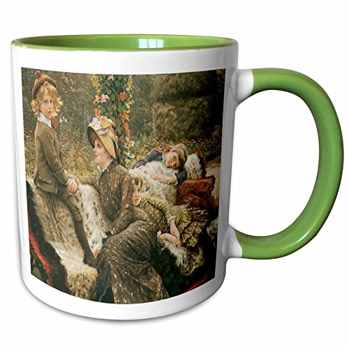3dRose BLN Paintings of Children Fine Art Collection - The Garden Bench c. 1882 by James Jacques Joseph Tissot - 15oz Two-Tone Green Mug (mug_169714_12)