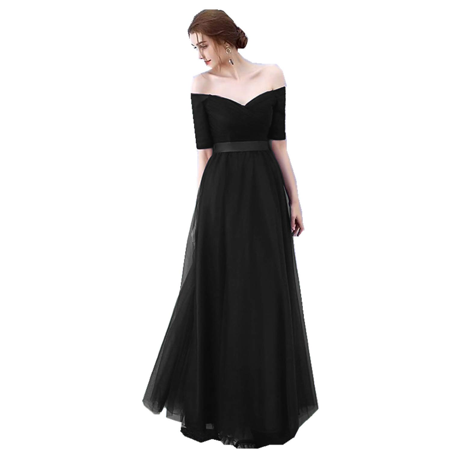 Black Ruiyuhong Women's VNeck Off The Shoulder Bridesmaid Dresses Long Tulle Wedding Party Gown