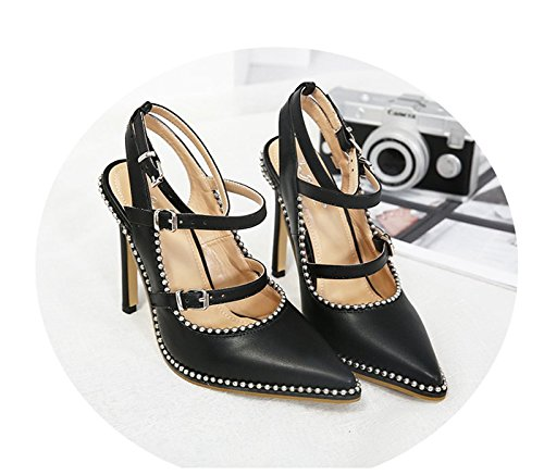 Pointues Sangles Chaussures De Ceinture Thirty Khskx Les Boucle La Bouche 5cm 8 six Correspondent Noires Talons Toutes Des Petite pREnqXY7w