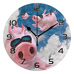 Dozili Funny Flying Pig Decorative Wooden Round Wall Clock Arabic Numerals Design Non Ticking Wall Clock Large for Bedrooms, Living Room, Bathroom