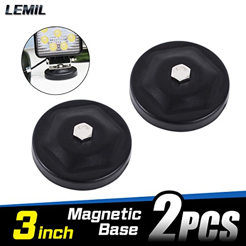 LEMIL - 2pcs Magnetic Base Mount Bracket with Rubber Pad for LED Work Light LED Light Bar Flood Beam Lamp