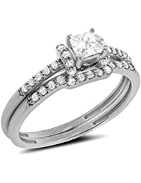 051 ct 14k gold princess cut round diamond solitaire bridal set engagement ring matching wedding band set - Engagement Ring And Wedding Band Set