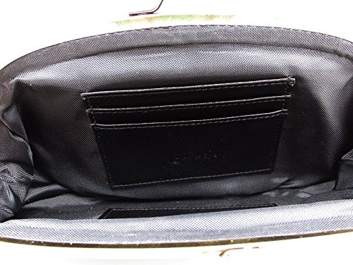 Handbag Genuine Women's Black ArtsEye Flowers Embossed Leather Bag Clutch Evening pAExqfwE