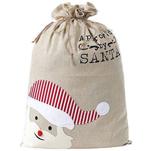 SHUNHAO Extra Large Cotton Santa Sacks with Drawstring Tie Closure Personalized Jumbo Santa Bags for Storing Large Storage Bag Holiday Presents]()