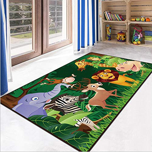 RuiHome Jungle Animals Theme Kids Game Play Mat Educational Fun Nursery Rug Classroom Bedroom Decor Non-Slip Children Activity Carpet -