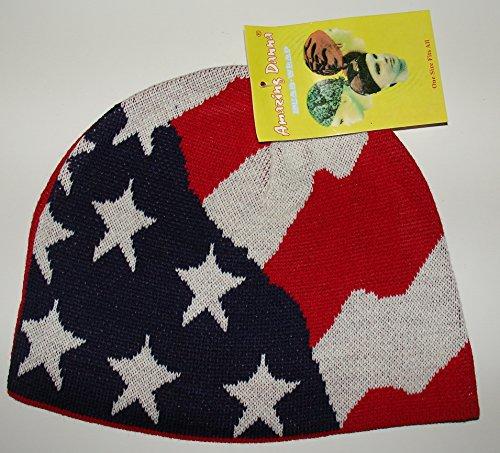 Amazing Danna Red White Blue American USA Flag Stars and Stripes Biker Shorty Beanie Skull Cap
