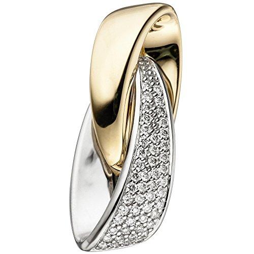 Jobo Pendentif en or blanc 585or jaune bicolore 50diamants Cts.