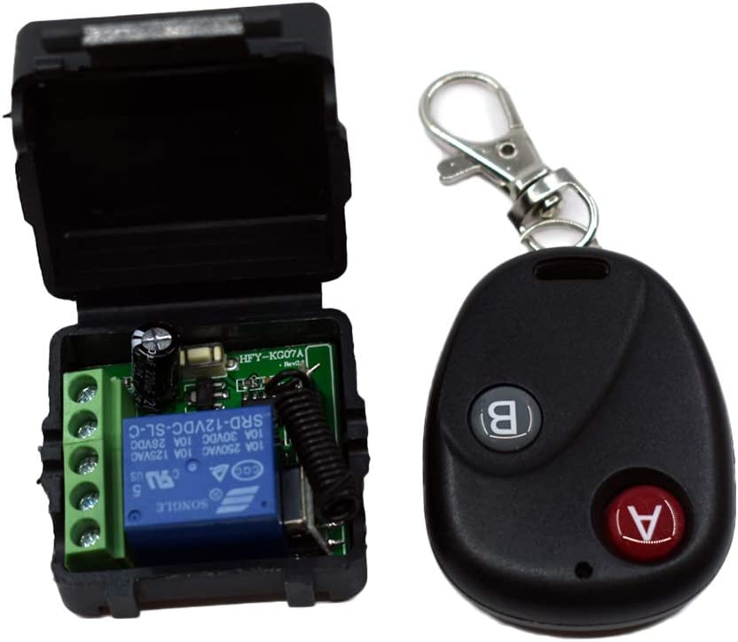 rongweiwang Control del relé de RF transmisor Receptor 433MHz relé 10A Interruptor de Control Remoto inalámbrico Universal de DC12V RF del transmisor