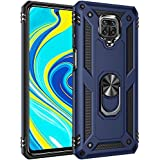 Lmposla for Redmi Note 9S case,Redmi Note 9 Pro case,Rugged Military Grade Dual Layer Shockproof 360°Rotating Ring Magnetic Kickstand Case Cover Fit for Xiaomi Redmi Note 9S (Navy)