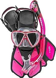 Cressi Adult Snorkeling Set (Mask, Dry Snorkel, Adjustable Fins) Ideal for Travel - Lightweight Colorful Equip