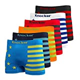 Nylon Stretchable Compression Boxer Brief 6-pcs Set, Assorted Colors (American Flag), One Size