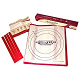 easy dough - DoughEZ Extra Large 17.5 x 32 Non-Slip Silicone Pastry Dough Rolling Mat and 6 Guide Sticks - BPA Free, FDA Approved materials
