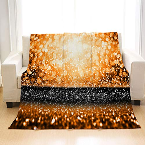 BEIVIVI Creative Design Flannel Soft Throw Blanket Abstract Orange Black Thanksgiving Party or Halloween Bash Glitter Background Blanket for Couch Sofa Bed and Outdoors