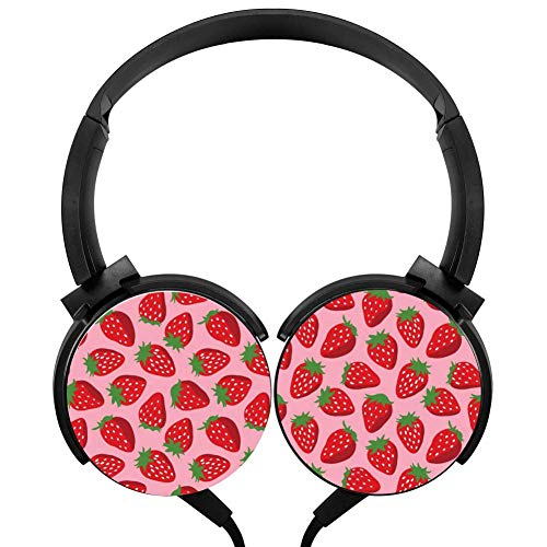 (Wired Stereo Headphone Red Strawberry Noise Cancelling Over Ear Headphones with Microphone Portable Headset Earphone Earpiece)