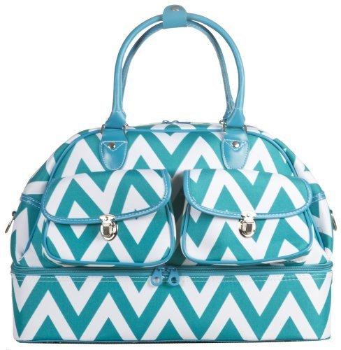 Ever Moda Chevron Women's Drop Bottom Duffel Bag 17 inch (Teal Blue)