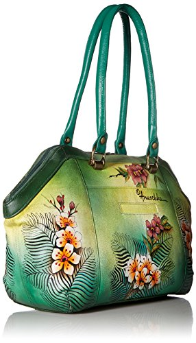 Anuschka Hand Painted Leather Large Wide Satchel, Passionate Peacocks by ANUSCHKA (Image #2)