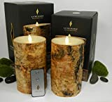 Luminara BIRCH BARK Flameless Candle 7'' Inch Pillars: 2PC SET w/ REMOTE CONTROL - 4'' x 7'', Ivory Wax, Battery Operated, Timer | REAL BIRCH WOOD - NOT PAINT | Home, Bed & Bath, Natural, Wedding, Gift