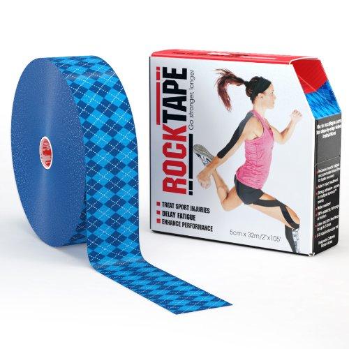 RockTape Uncut BULK Kinesiology Tape For Athletes - 2'' X 105' Roll - Blue Argyle