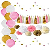 Bachelorette Party Decorations Kit for Bride to be. Gold, White and Pink Bachelorette Party Decor - Tissue Pom Poms, Paper Tassel Garland and Balloons.