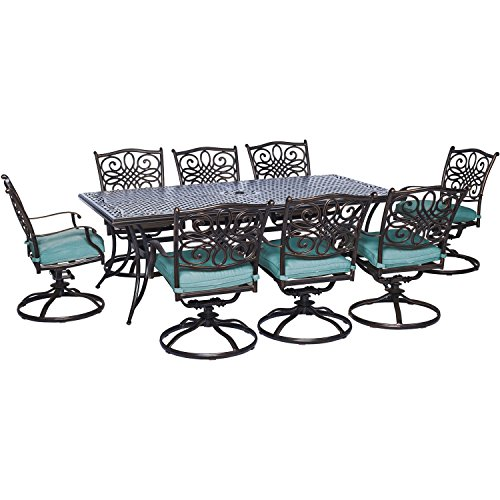 Hanover 9 Piece Traditions Dining Set with 8 Swivel Chairs and Large 84