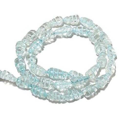 (11x6mm,14 Inch Strand,5 Strands Blue Topaz Hand Carved Drop Crystal Beads,Gemstone Briolette Beads)